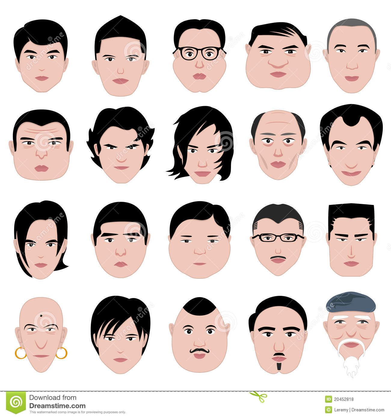 Man Face Shape Hairstyle Round Fat Thin Old Royalty Free