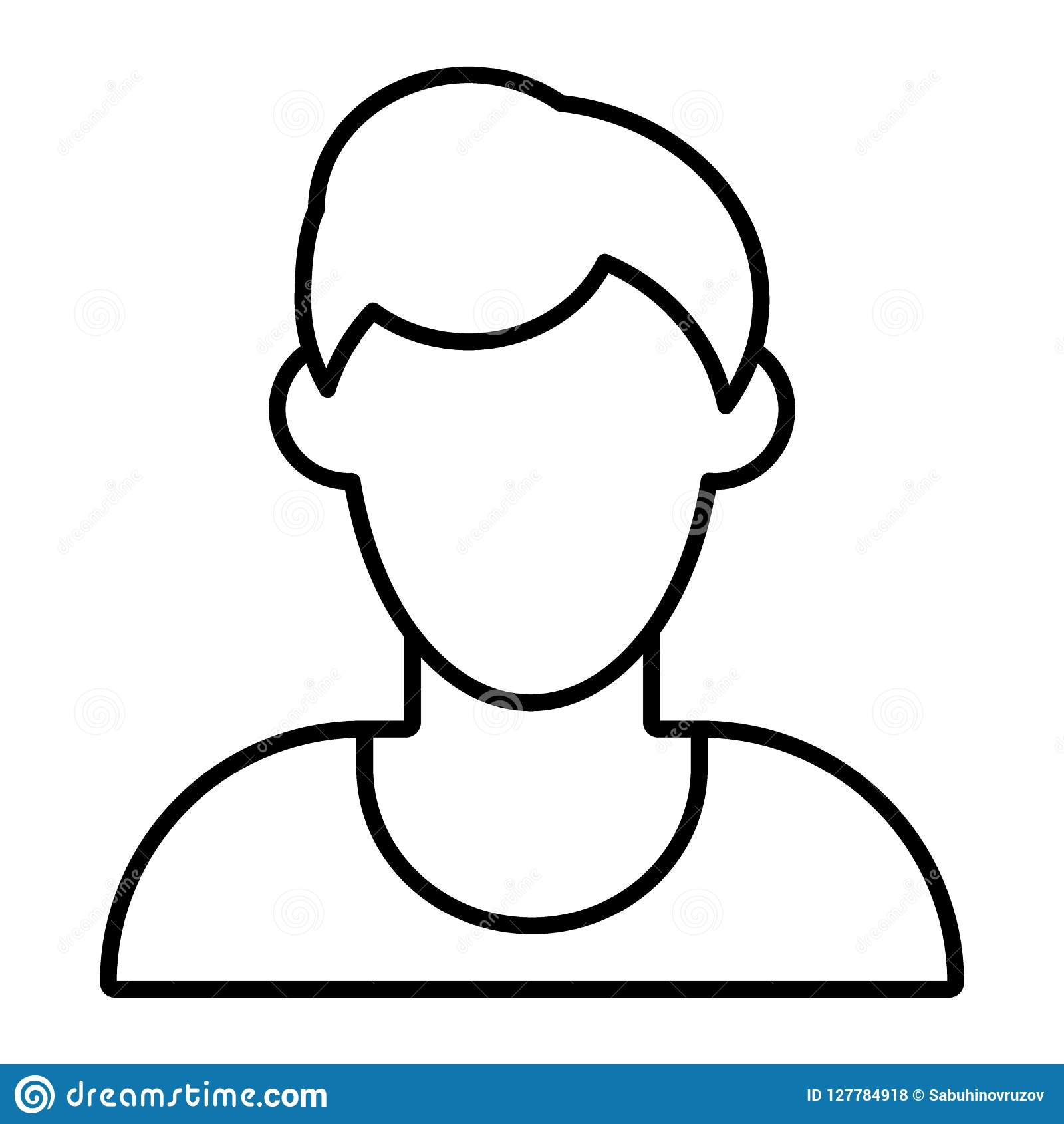 Man Faceless Avatar Thin Line Icon Default Profile Vector