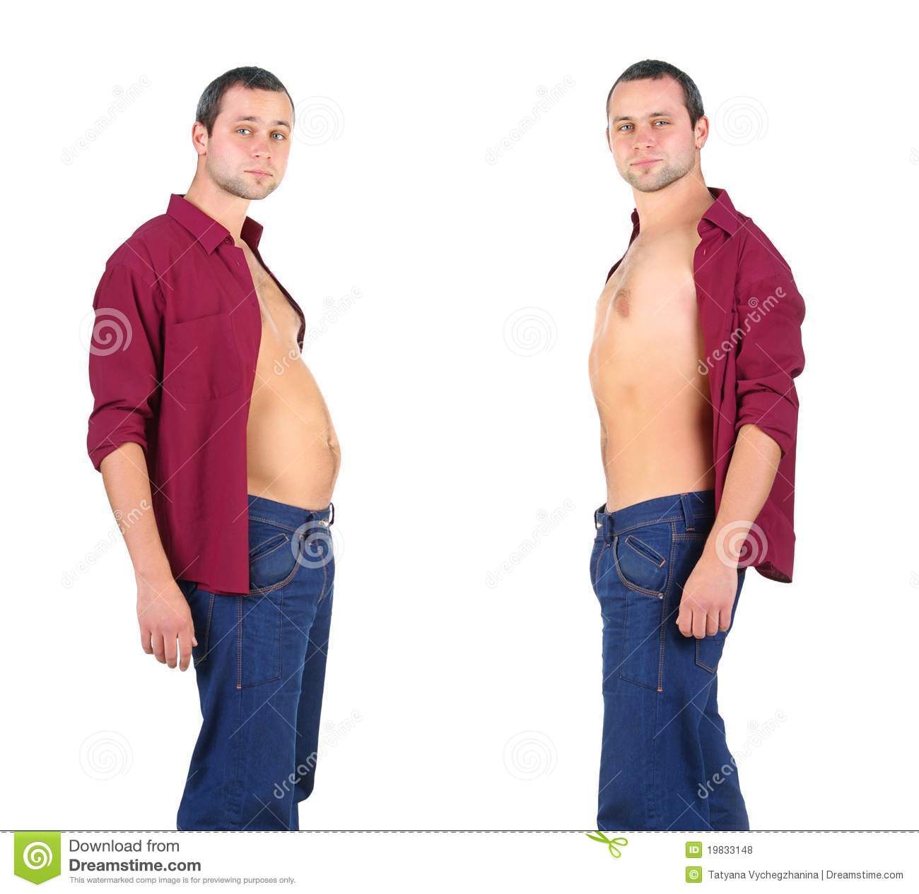 Man From Fat To Fitness In Before And After Stock Photo