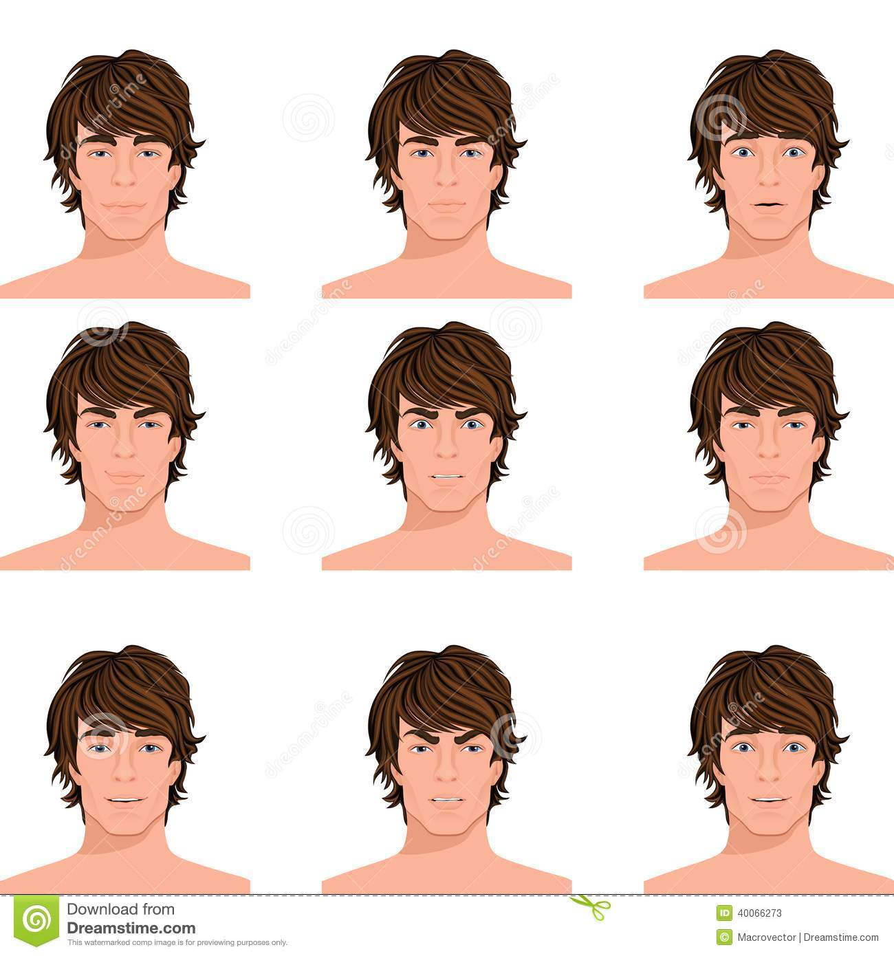 Man Head Emotions Portraits Set Stock Vector Image 40066273