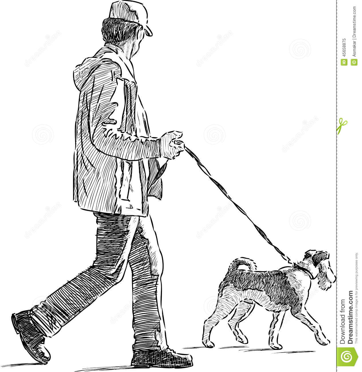Man With The His Dog Stock Vector Illustration Of Drawn