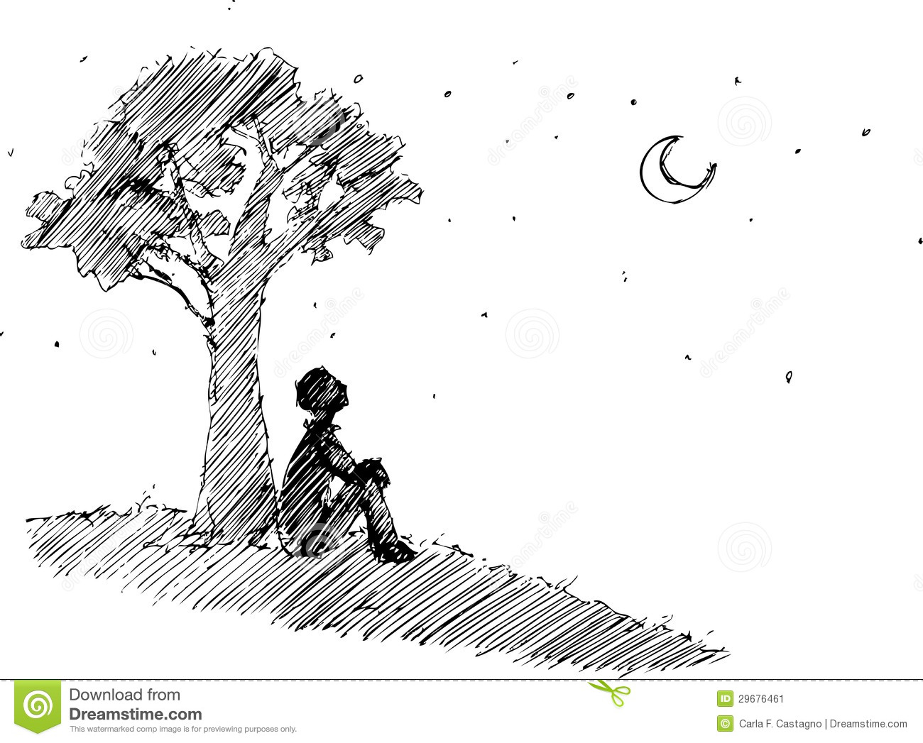 Man Looking At The Moon Vector Stock Vector