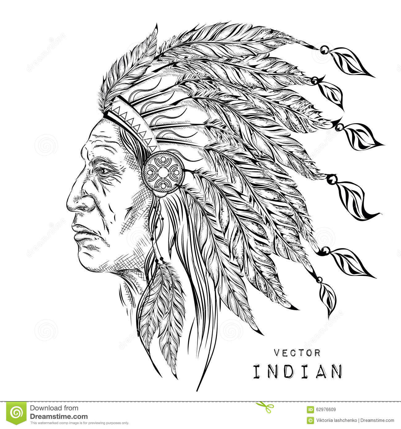 Man In The Native American Indian Chief Black Roach