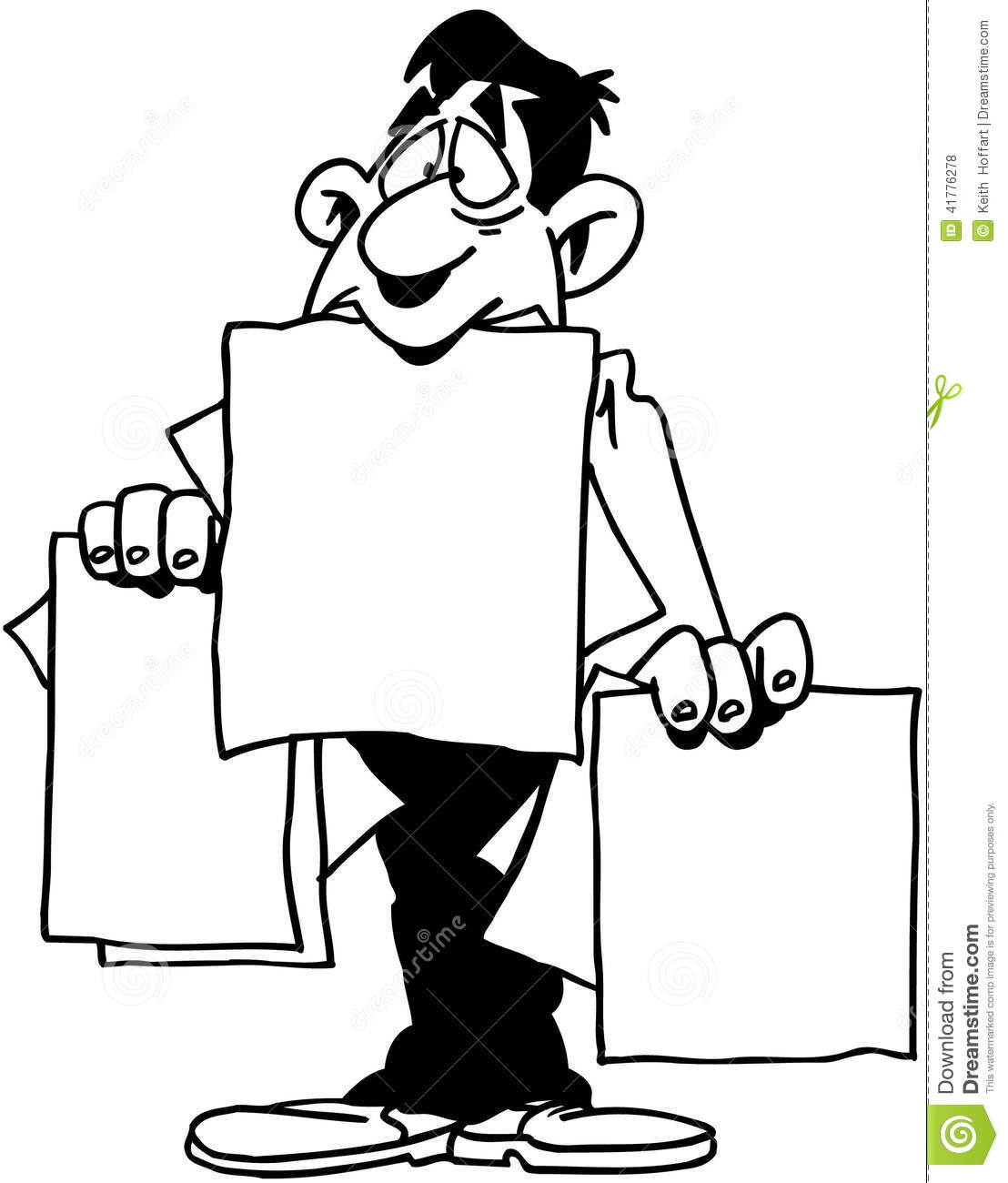 Man With Paper Template Cartoon Vector Clipart Stock