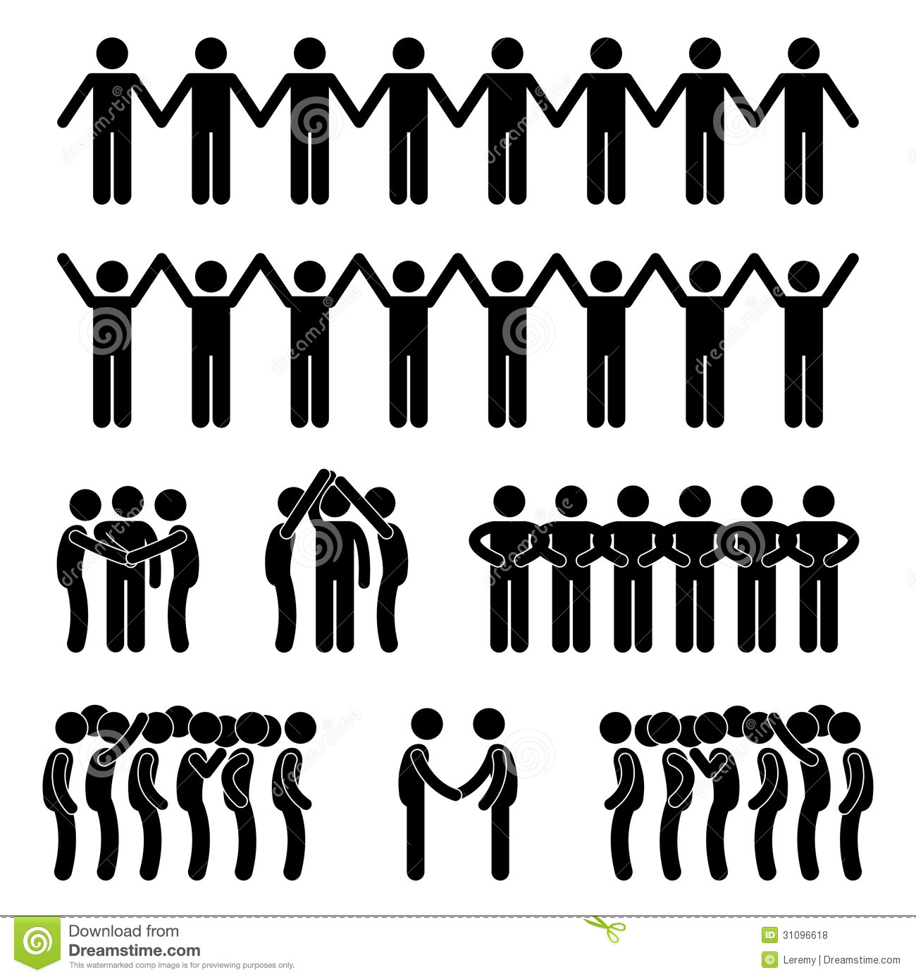 Man People United Unity Community Stick Figure Pic Royalty