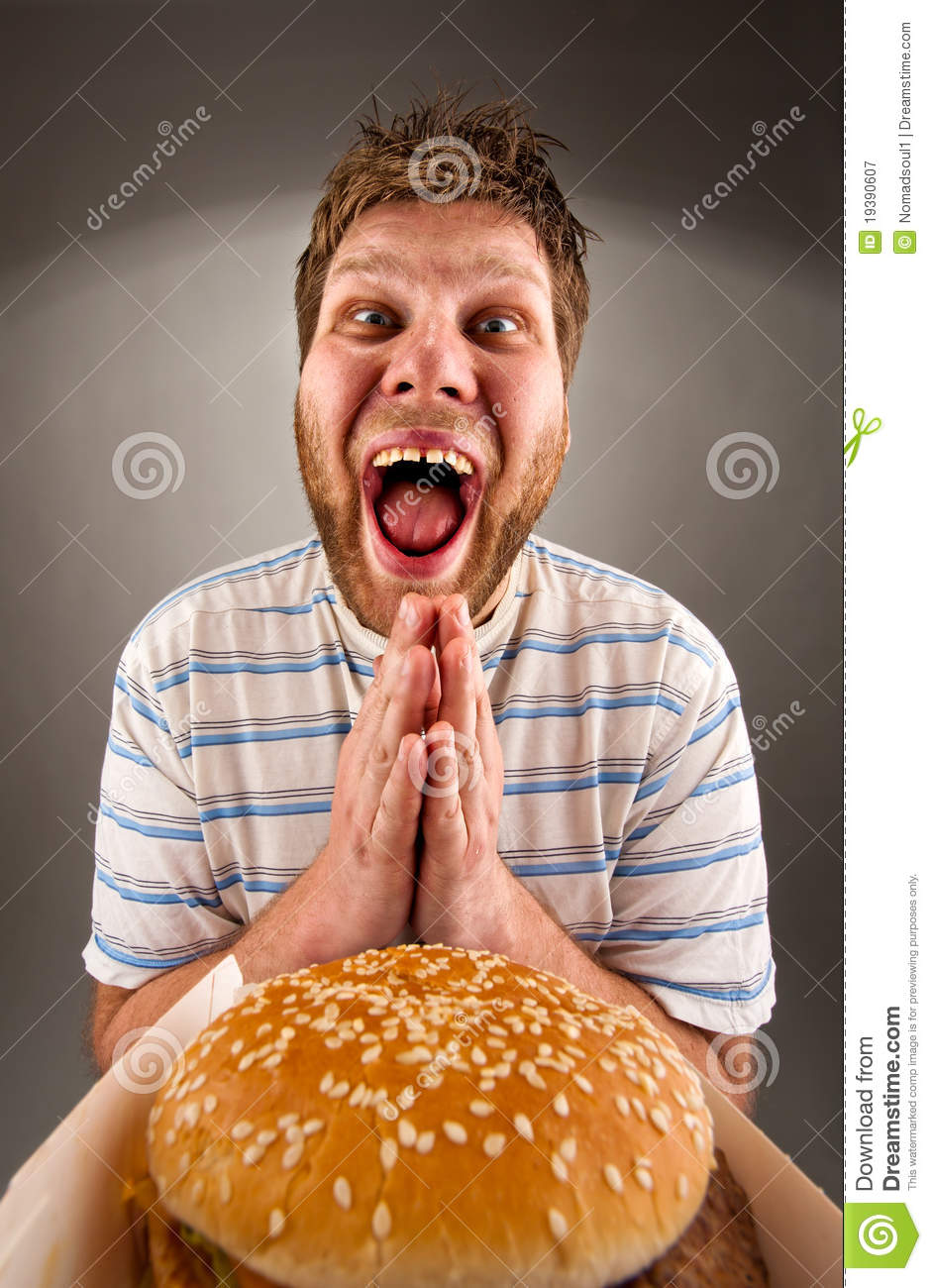Burger Guy Eating Happy Fat
