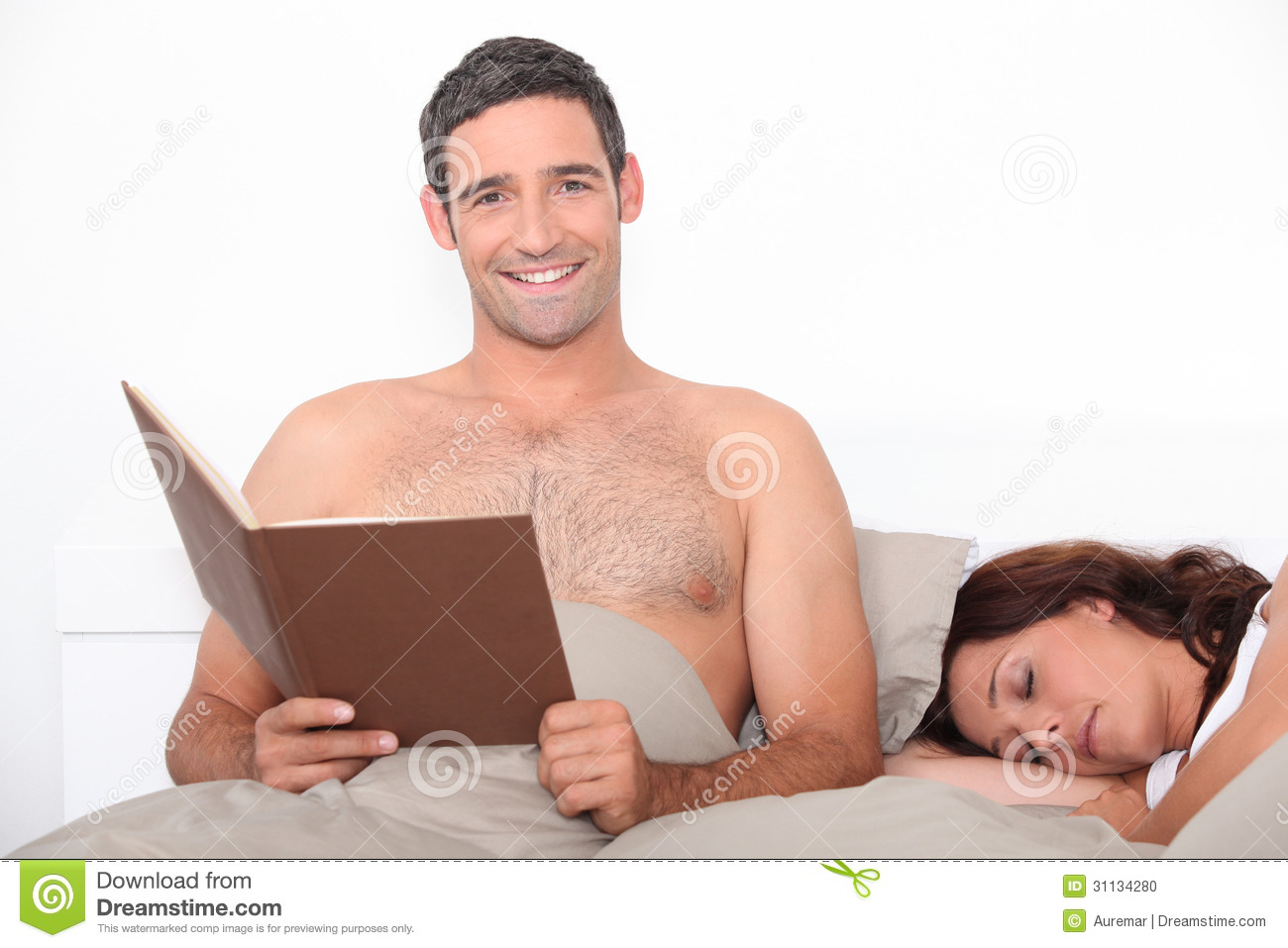 Man Reading In Bed Stock Photo Image 31134280