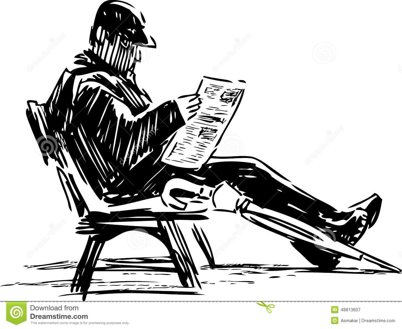 Man Reading A Newspaper Stock Vector Illustration Of Hand