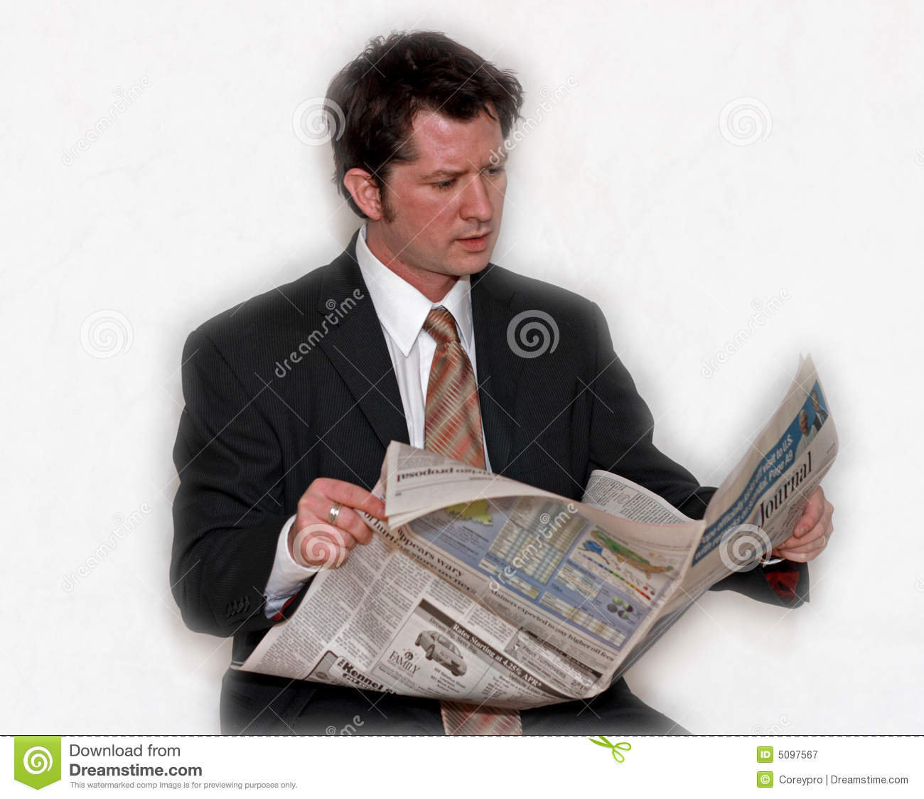 Man Reading Paper Stock Image Image Of Paper Informed