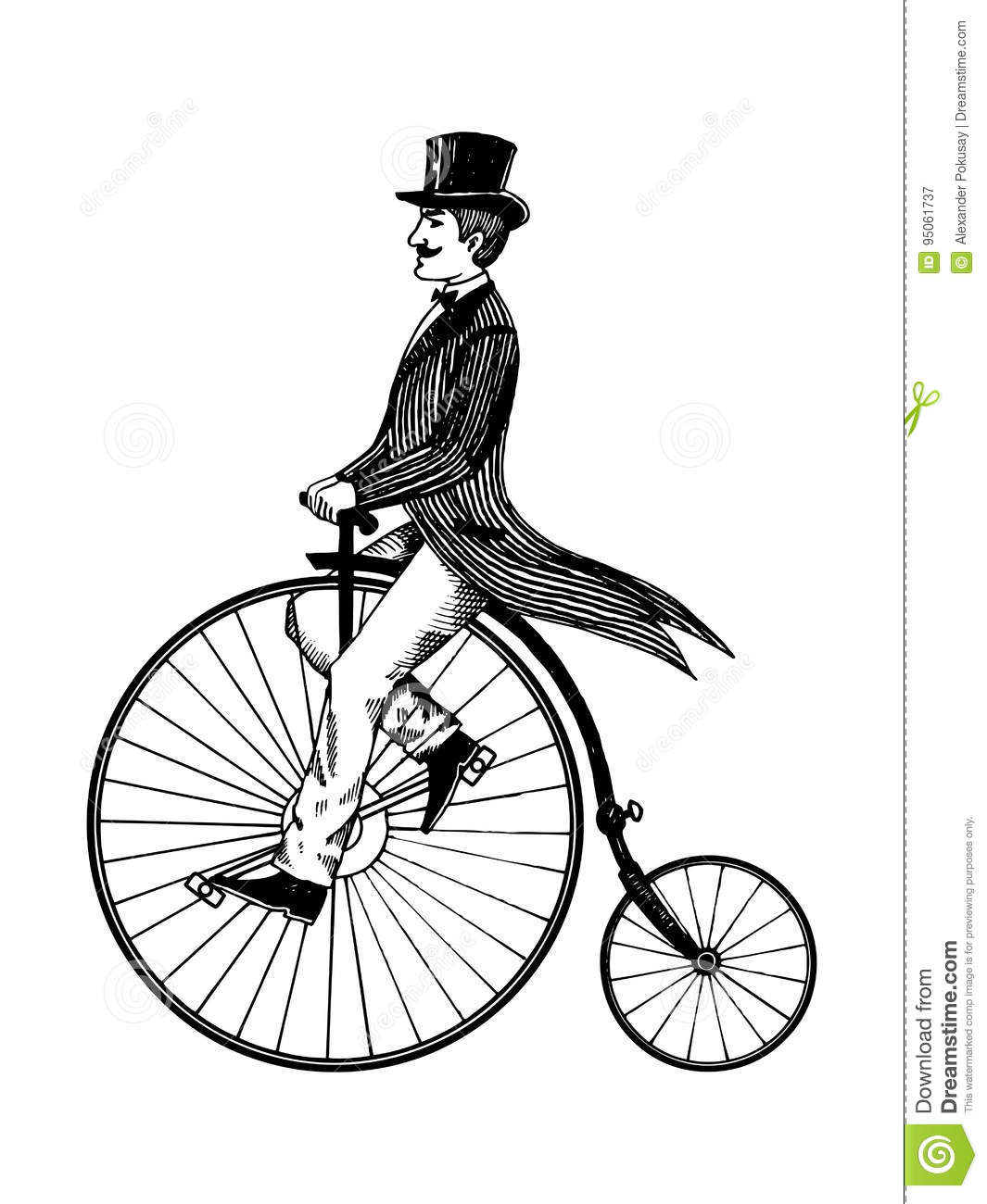 Man On Retro Vintage Old Bicycle Engraving Vector Stock