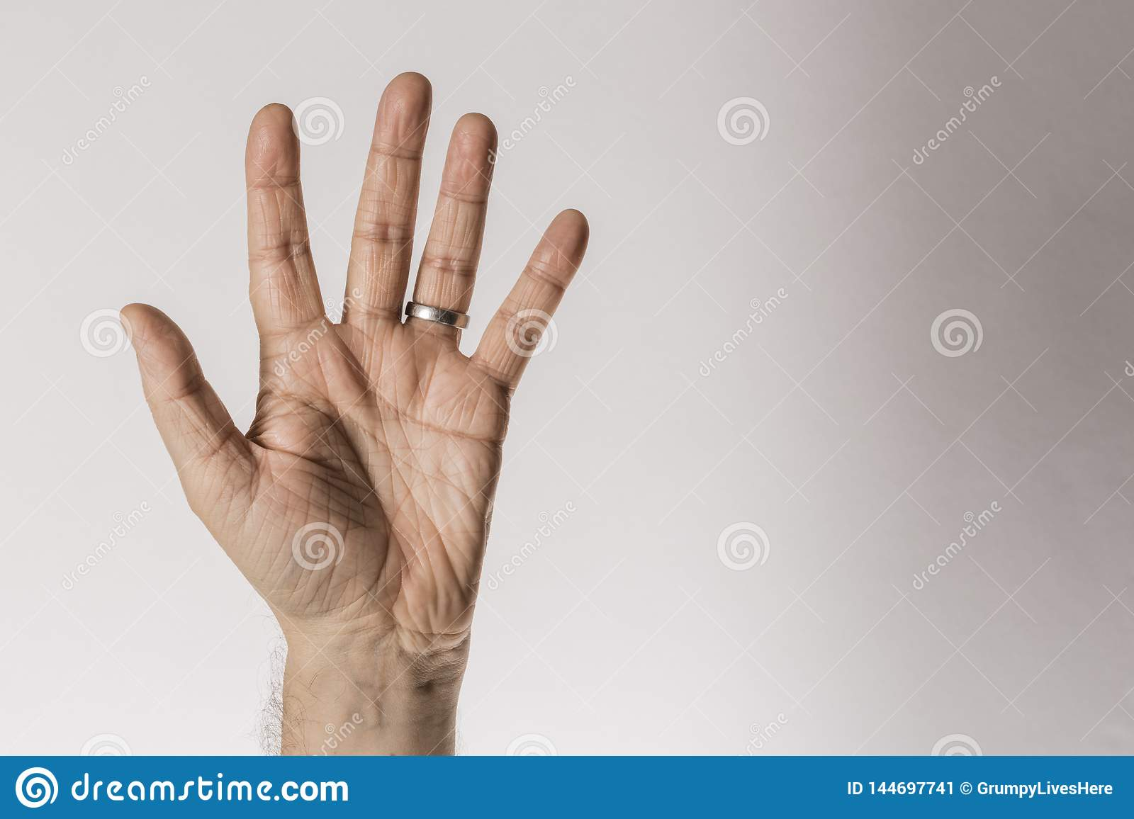 Man S Hand Gesture Counting Number Five Isolated On