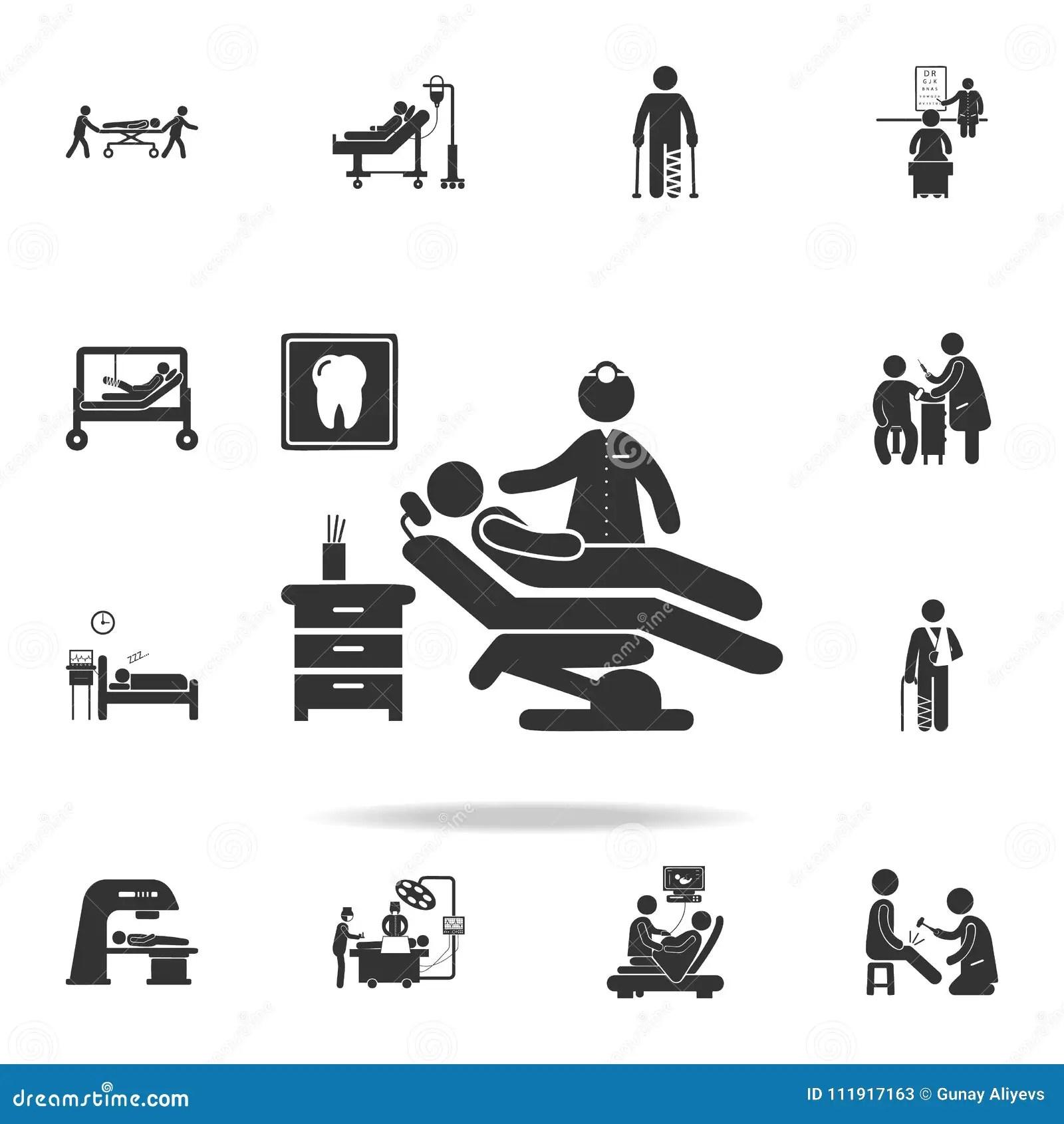 Man Silhouette Sitting In Dentist Chair Illustration Icon