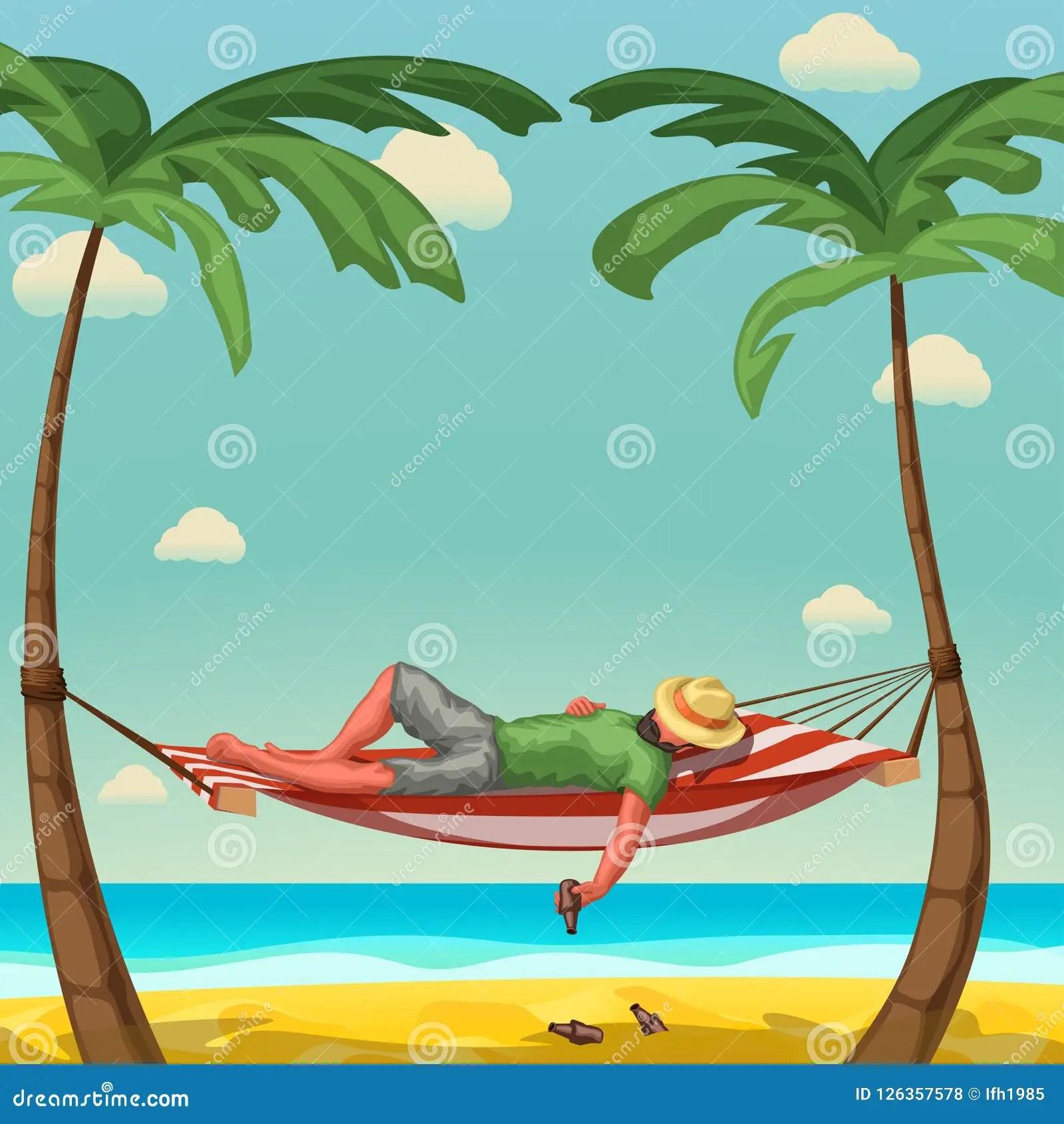 Man Sleep In Hammock Stock Vector Illustration Of Palm