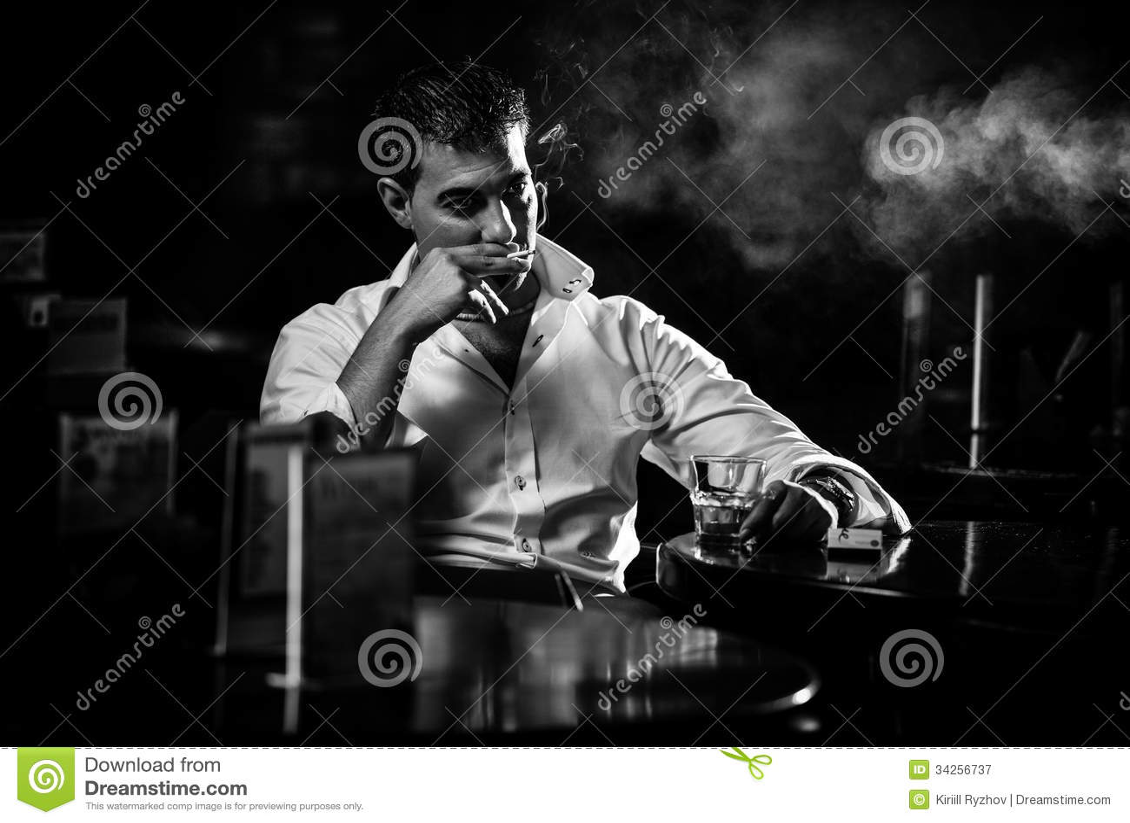 Man Smoking Cigarette In Restaurant Stock Image Image