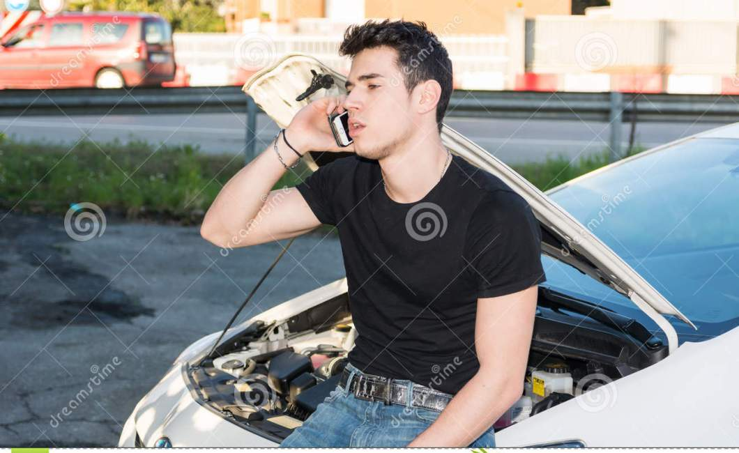 Man Trying To Repair A Car And Seeking Help Stock Image Image Of Engine People 53605333