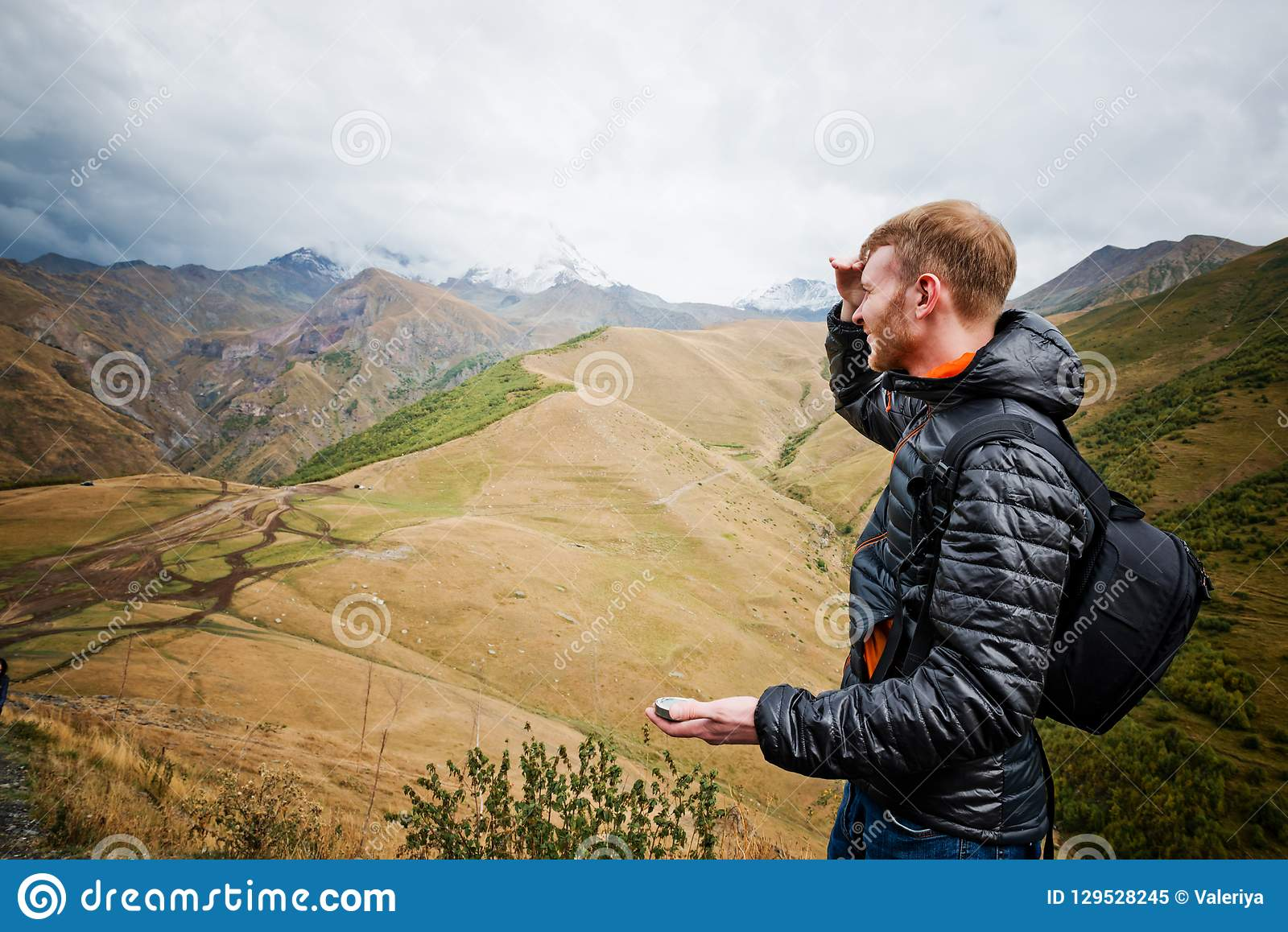 Man Using A Compass Stock Image Image Of People Summer