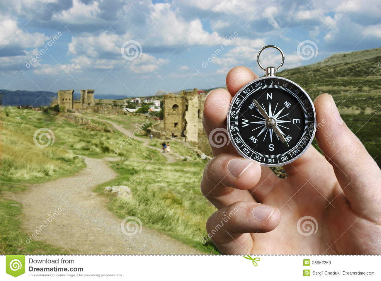Man Using A Compass While Sightseeing Abroad Stock Photo