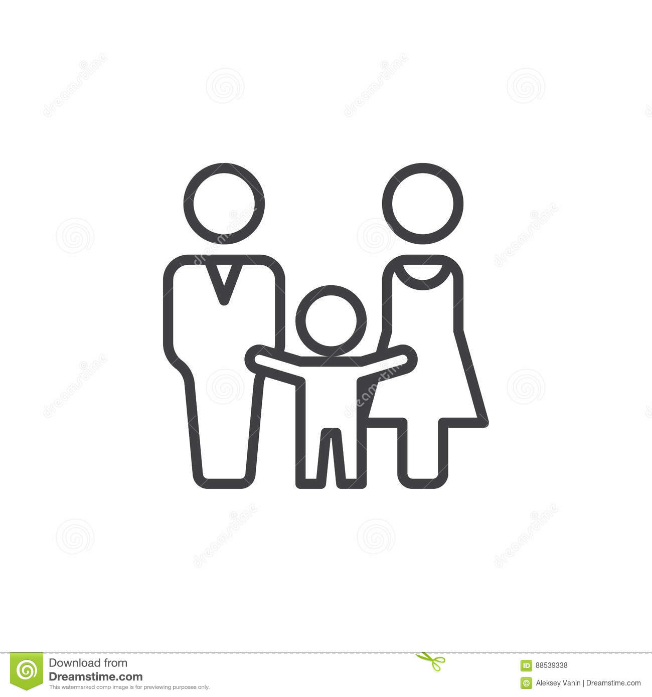 Man Woman And Child Line Icon Outline Vector Sign