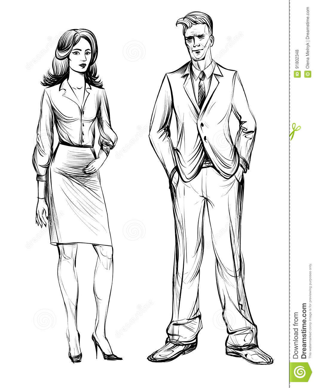 Man And Woman Hand Drawn Illustration People In Business