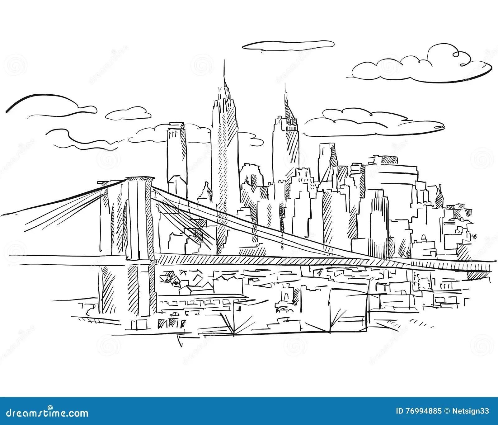 Manhattan And Brooklyn Bridge Detailed Sketch Stock Vector