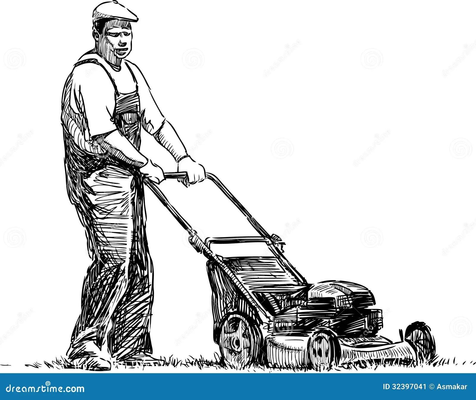 Mann Mit Rasenmaher Stockbild Bild Von Antreiben Sommer