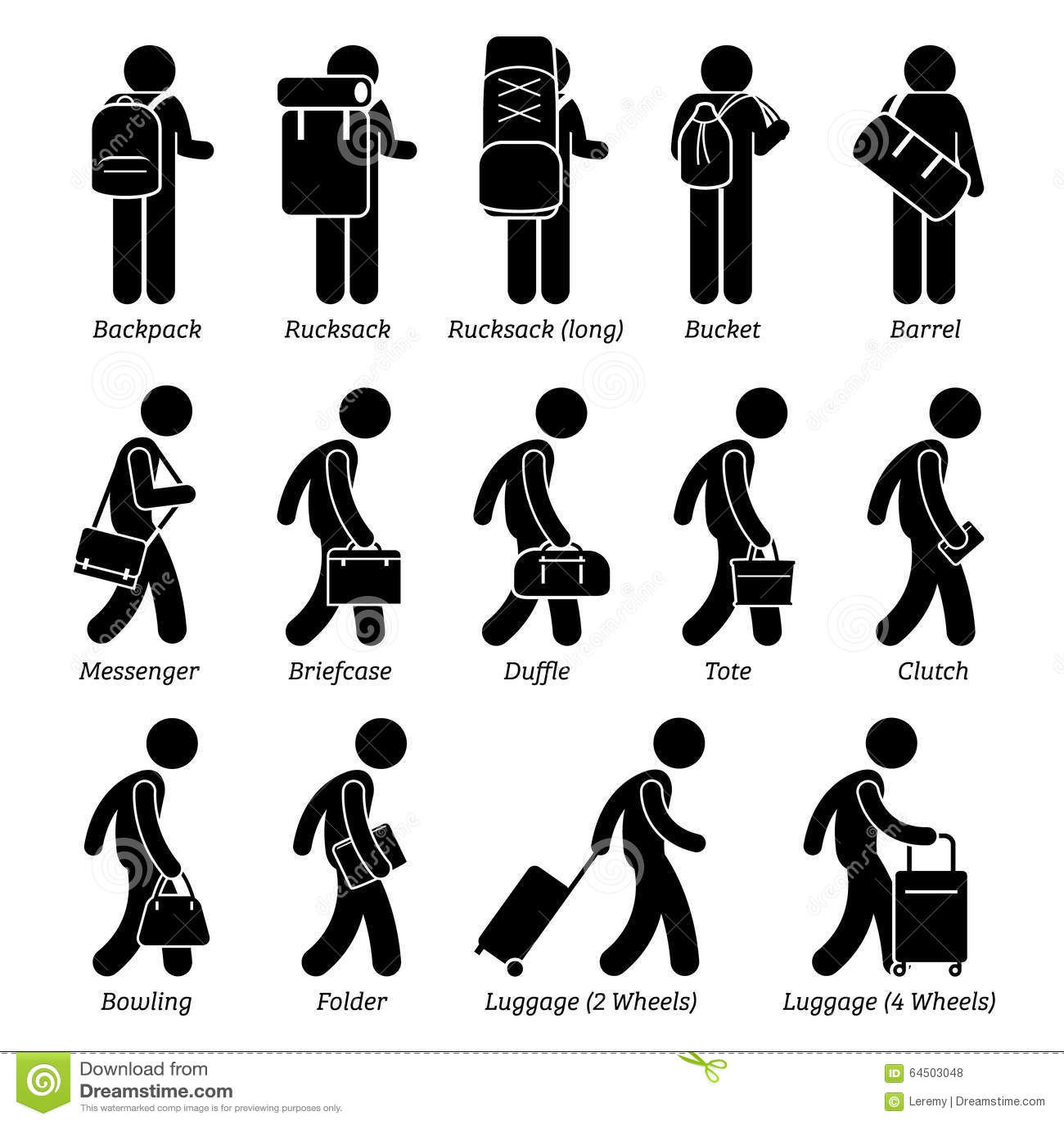 Mann Taschen Und Gepack Design Clipart Vektor Abbildung