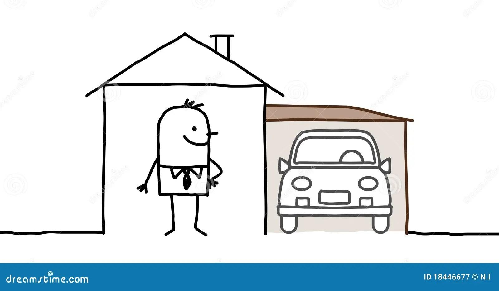 Mann U Haus Mit Garage Vektor Abbildung Illustration Von