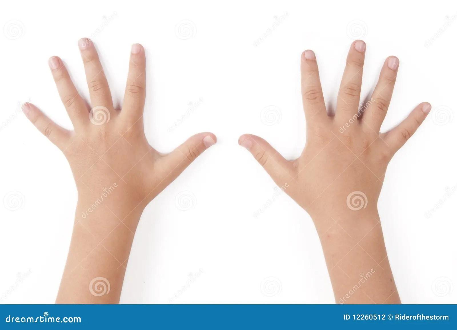 manos del niño mano de los dedos del ser humano cinco