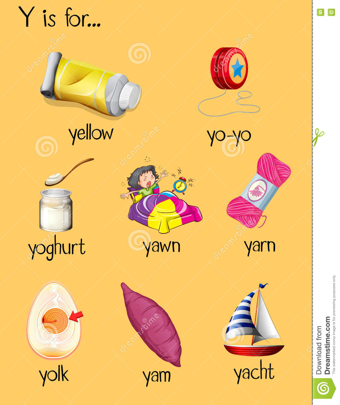 Many Words Begin With Letter Y Stock Vector