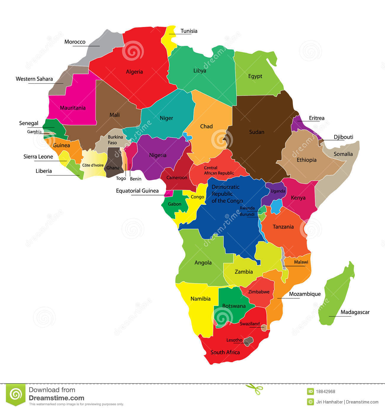 Map Of Africa Stock Vector Illustration Of Cartographic