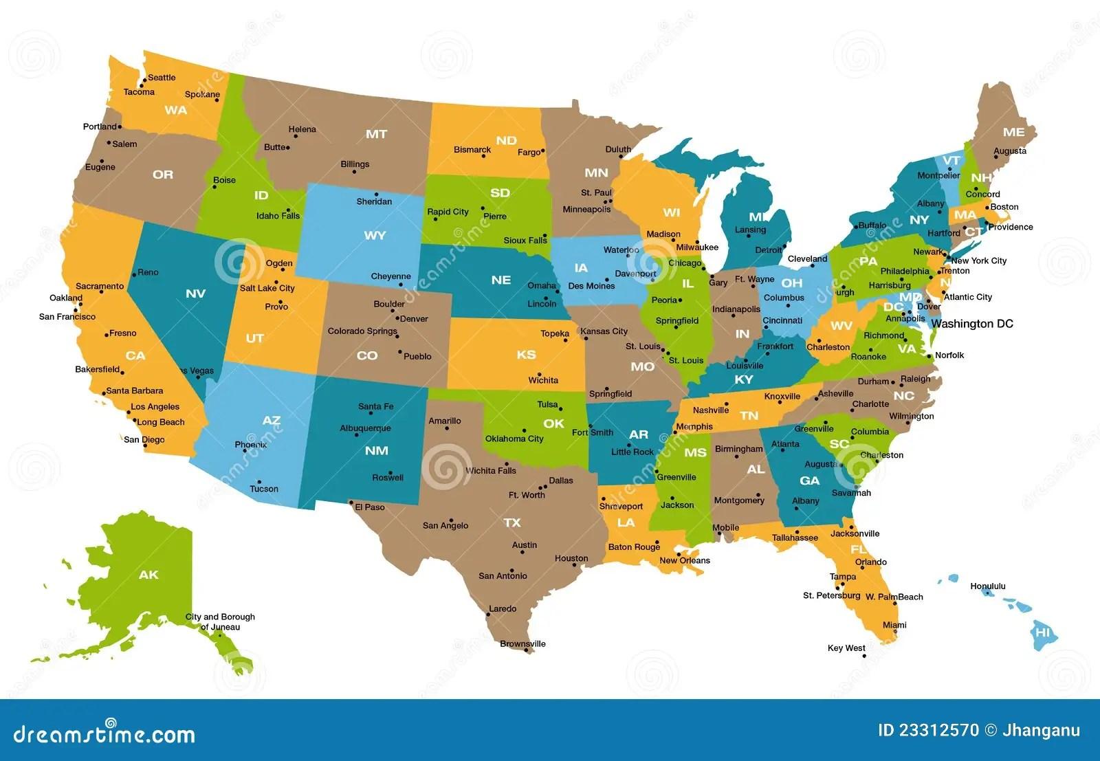 Usa States Abbreviations Map