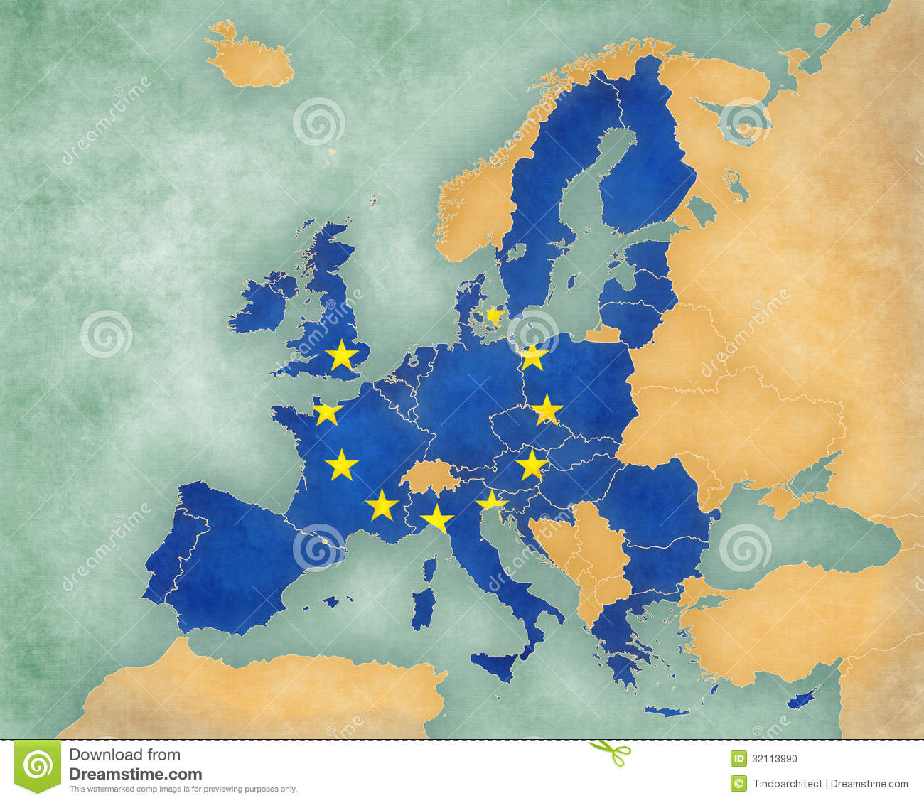 Map Of Europe   European Union 2013  summer Style  Stock     Download Map Of Europe   European Union 2013  summer Style  Stock  Illustration   Illustration