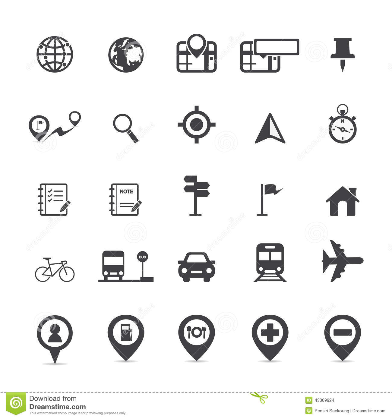 Map Icons And Location Icons Stock Vector