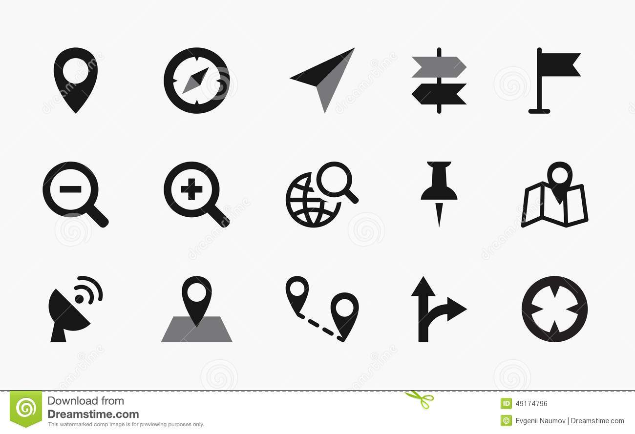Map Icons Mono Vector Symbols Stock Vector