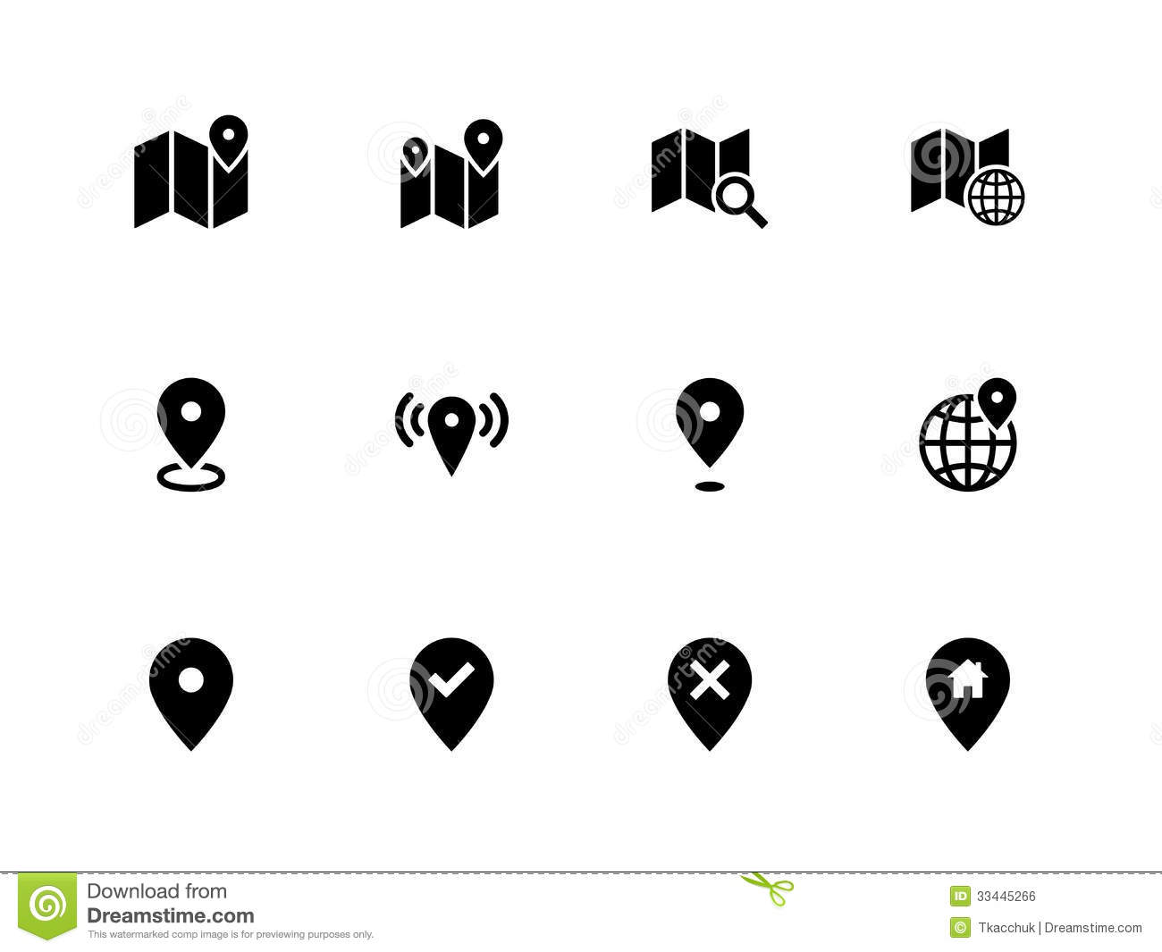 Map Icons On White Background Gps And Navigation Royalty