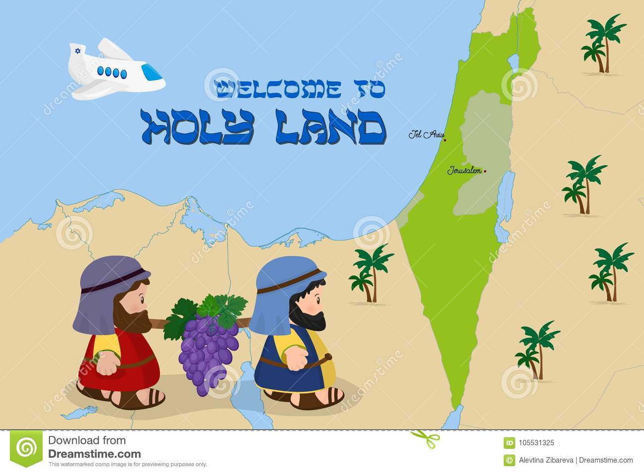 Map Of Israel With Two Spies Welcome To Holy Land Stock