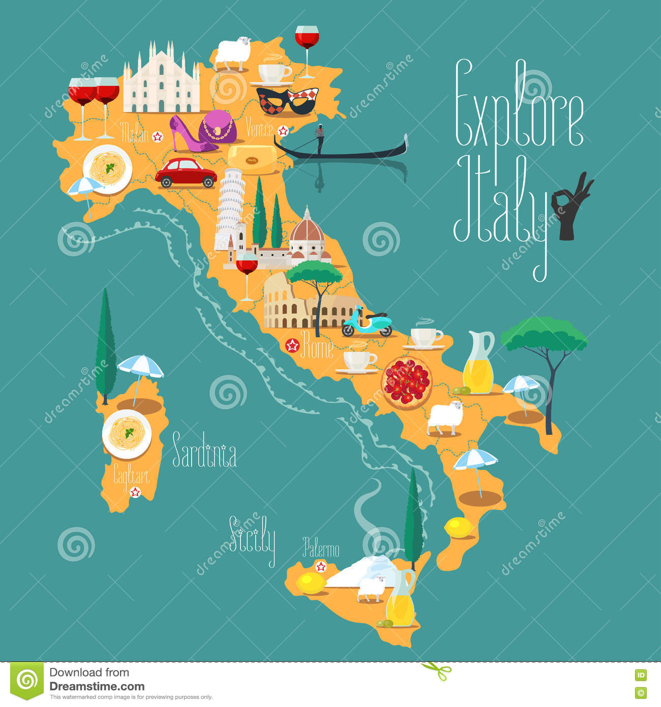 Map Of Italy Vector Illustration Design Icons With