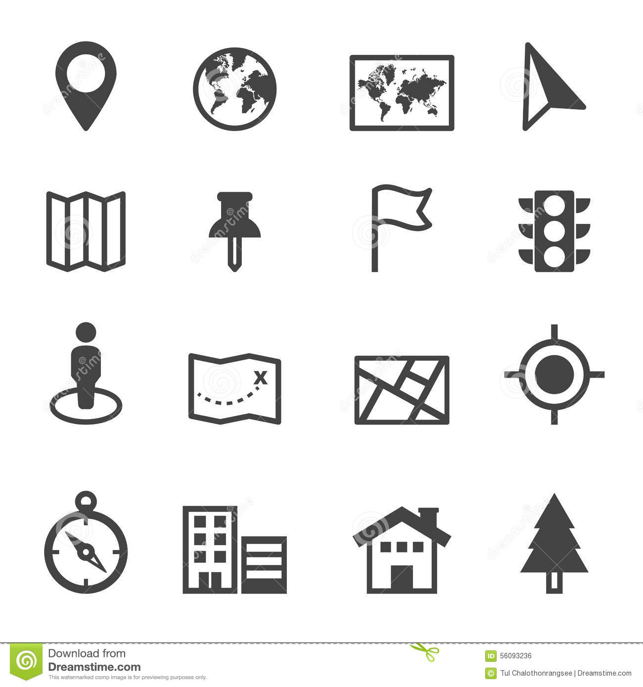 Map And Location Icons Stock Vector