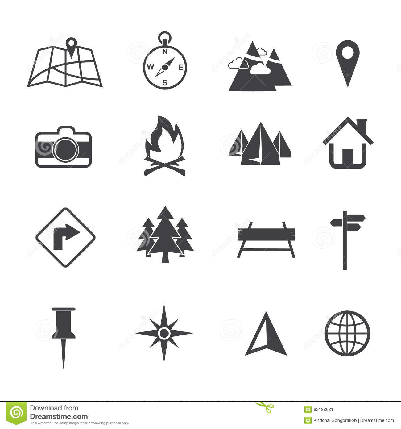 Map Navigation And Location Icons Set Stock Image