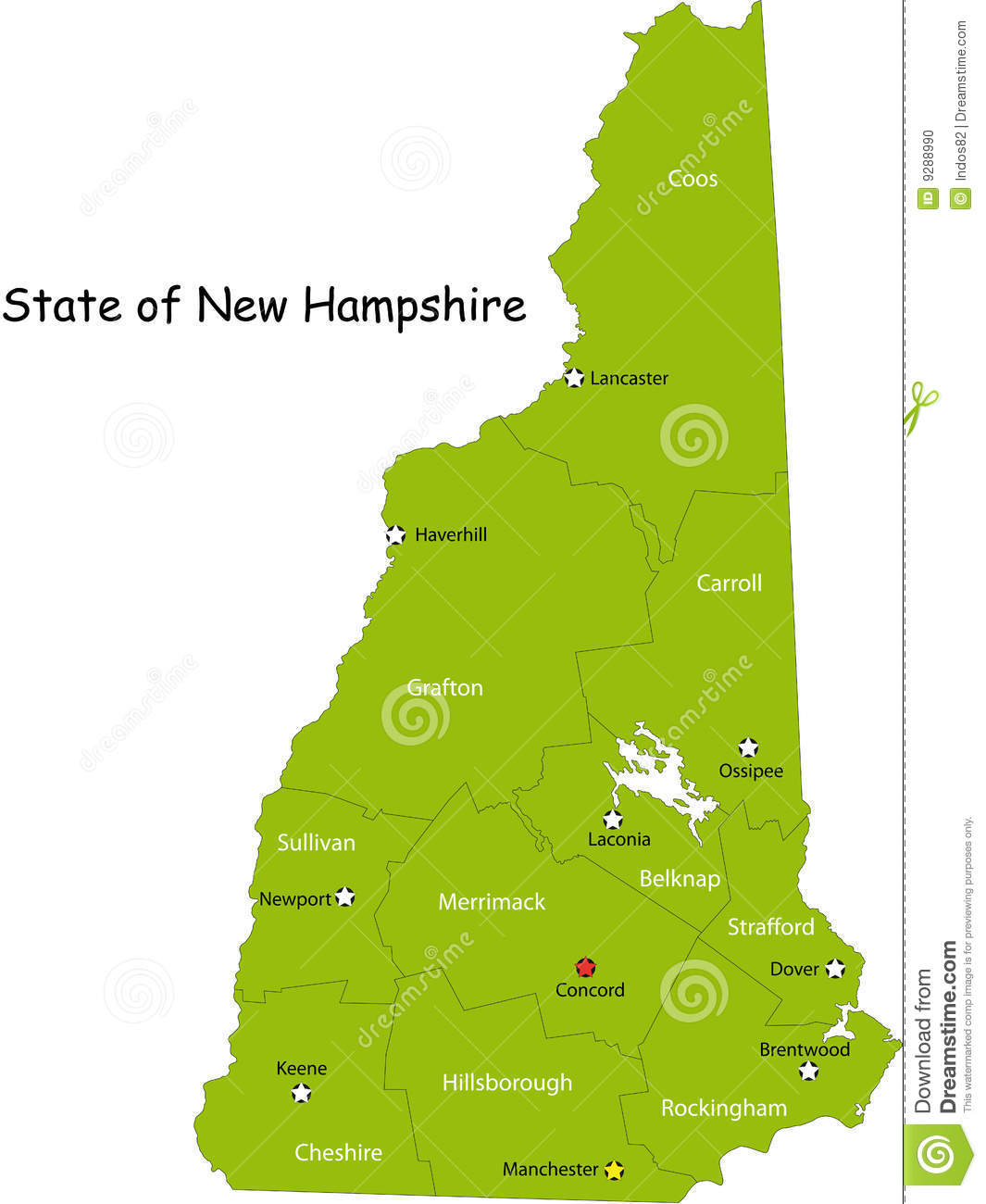 Map Of New Hampshire State Stock Vector Image Of Coos