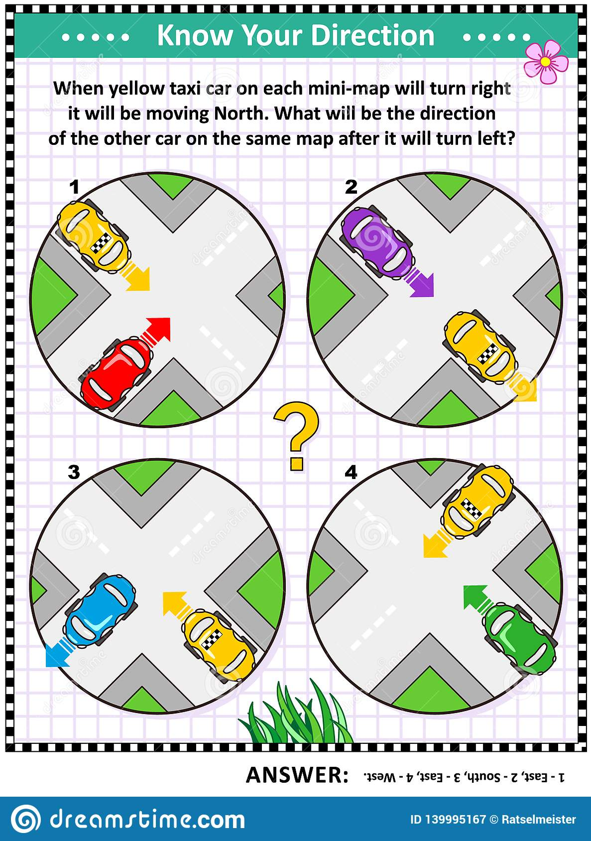 Map Skills Learning And Training Activity Page With Cars