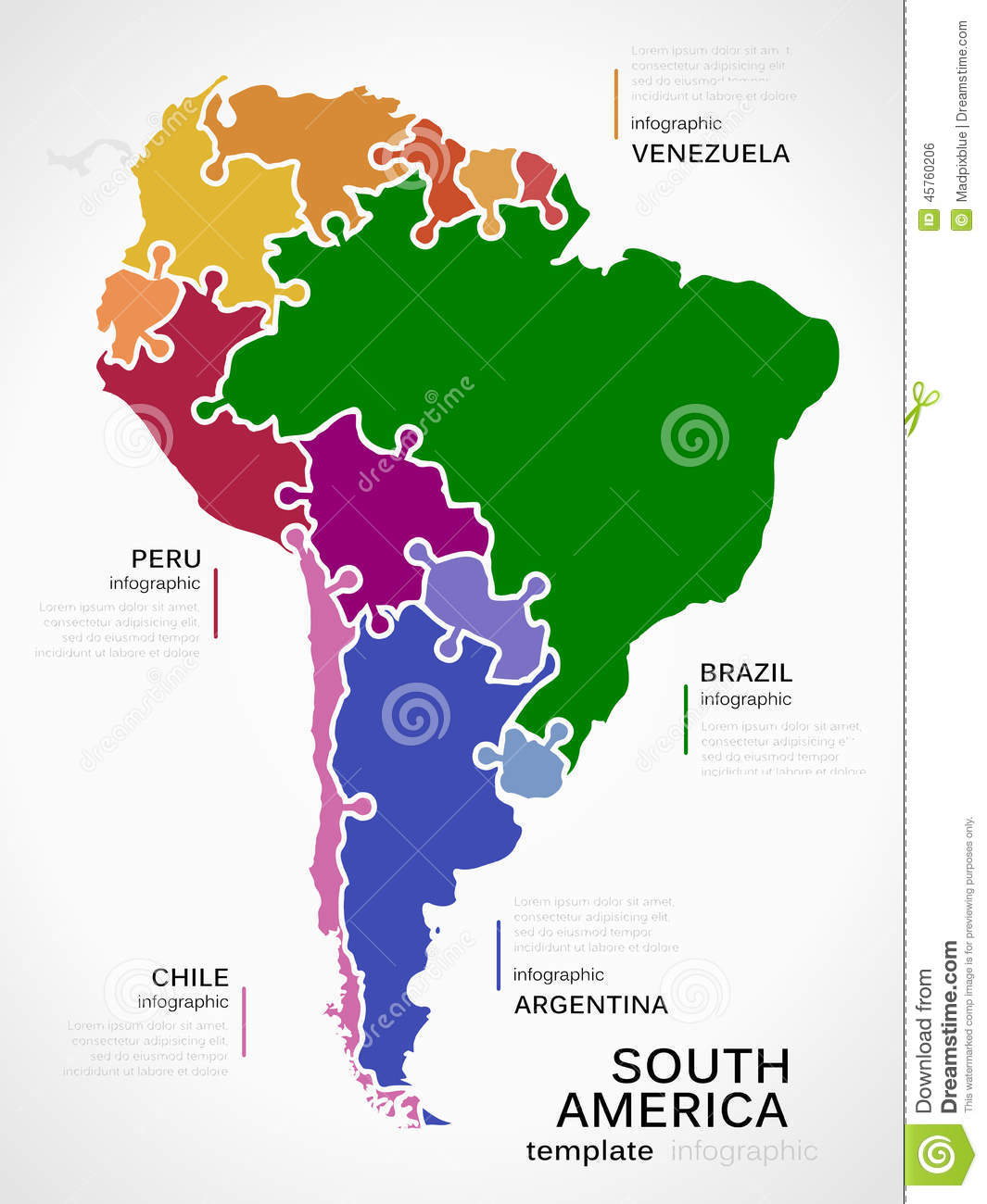 Map Of South America Stock Vector Illustration Of Jigsaw