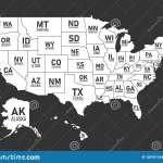 Map Of United States Of America With State Names And Abbreviations Black And White Print Map Of Usa Vector Flat Style Stock Vector Illustration Of Flat Concept 180701244