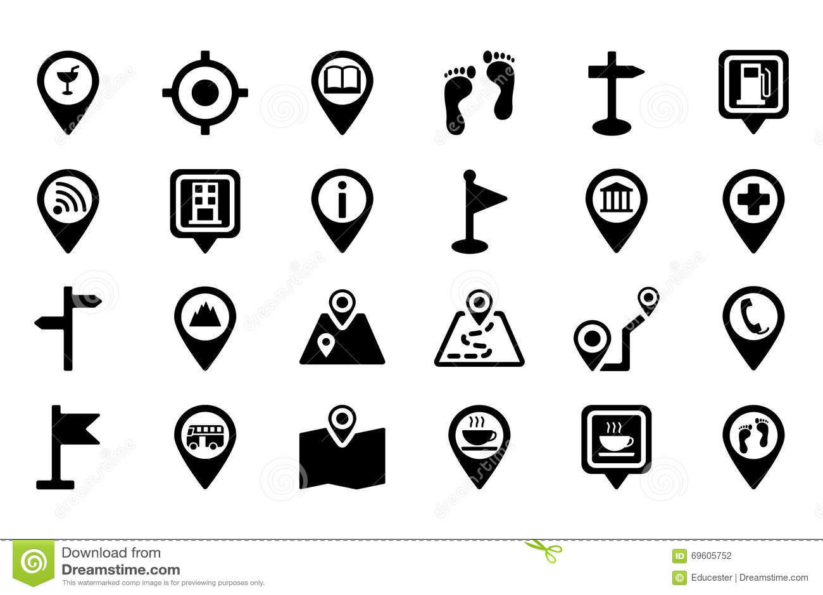 Mapas E Iconos 2 Del Vector De La Navegacion Stock De
