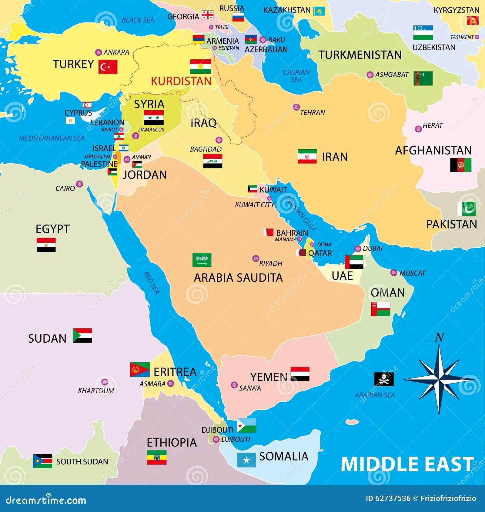 Mappa Di Medio Oriente Con I Confini E Le Ban Re