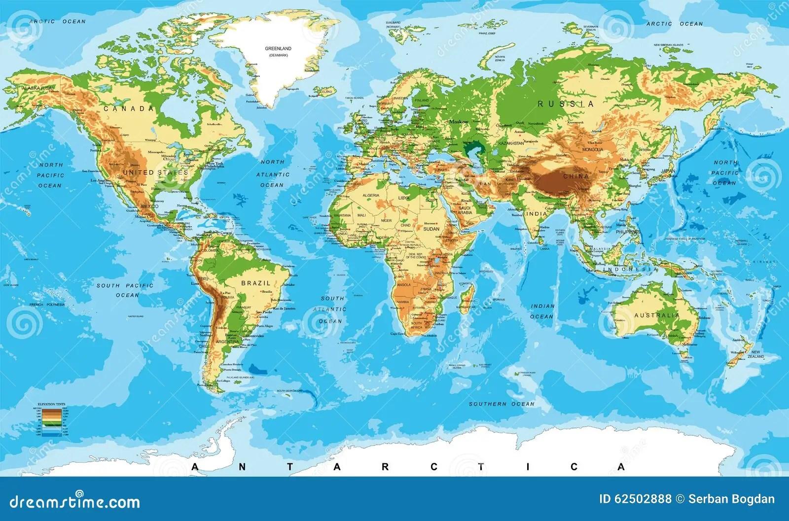 Mappa Fisica Del Mondo Illustrazione Vettoriale
