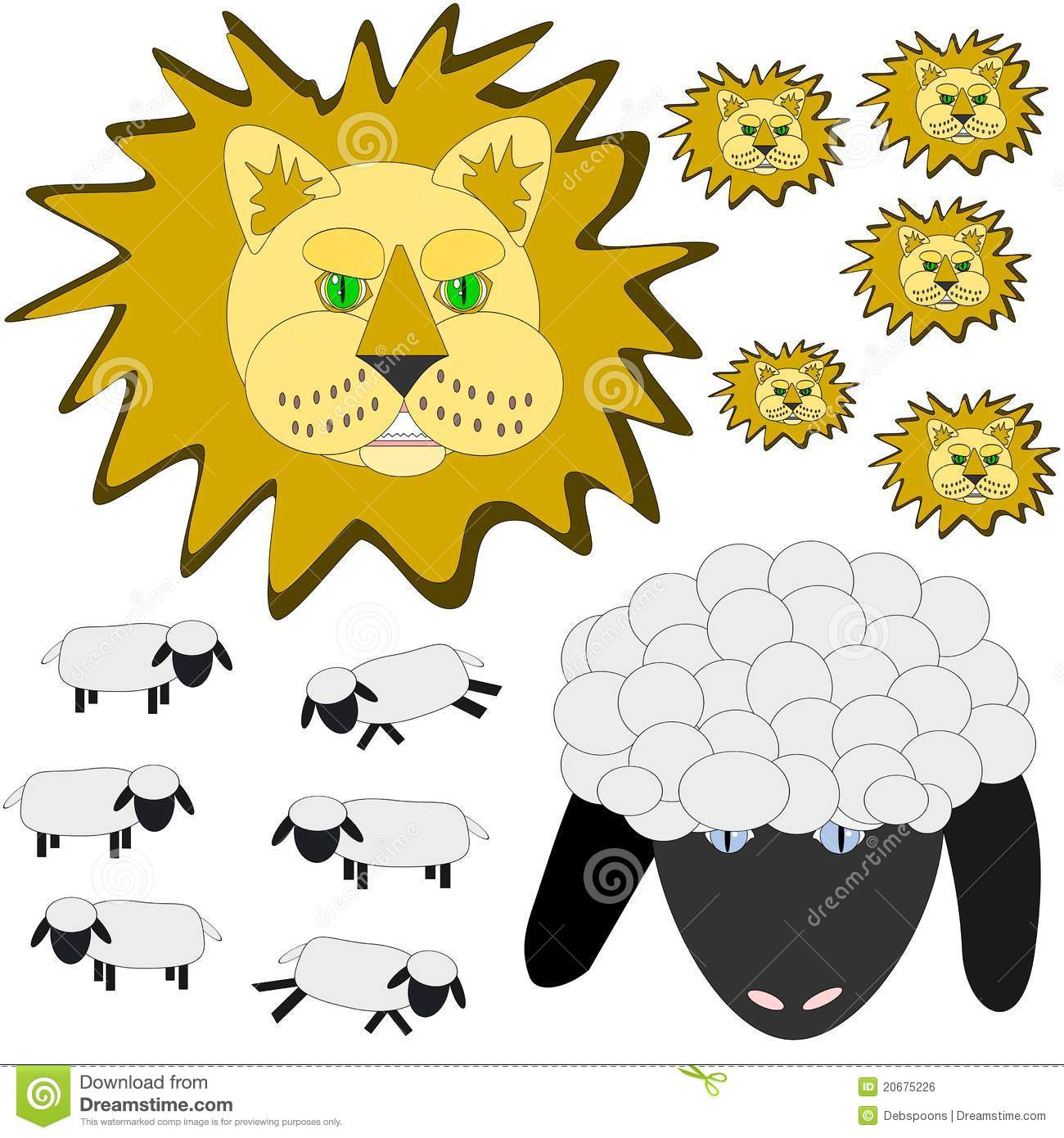 March Lion And Lamb Stock Vector Illustration Of