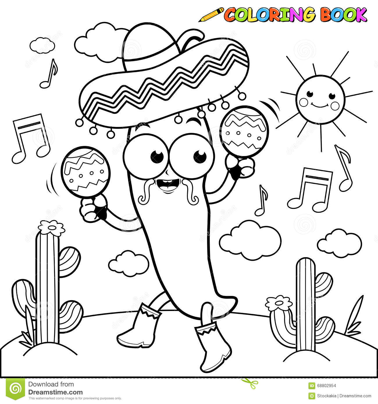 Mariachi Chilli Pepper With Maracas Coloring Page Stock