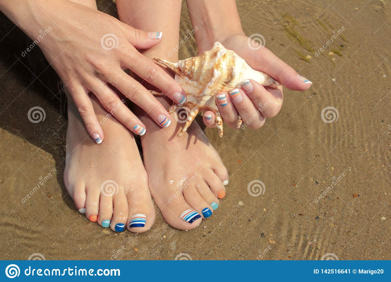 Marine French Manicure And Pedicure With Blue And Orange Stripes