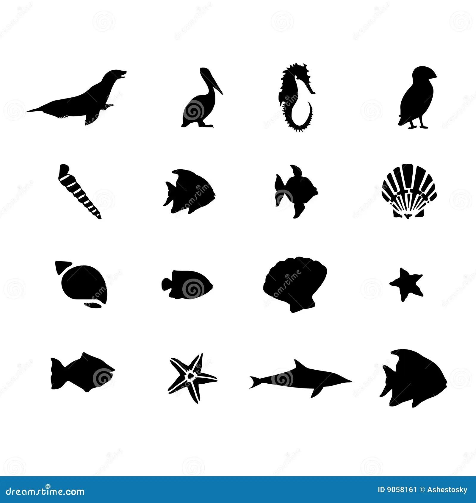Marine Sea Life Animals Vector Stock Vector